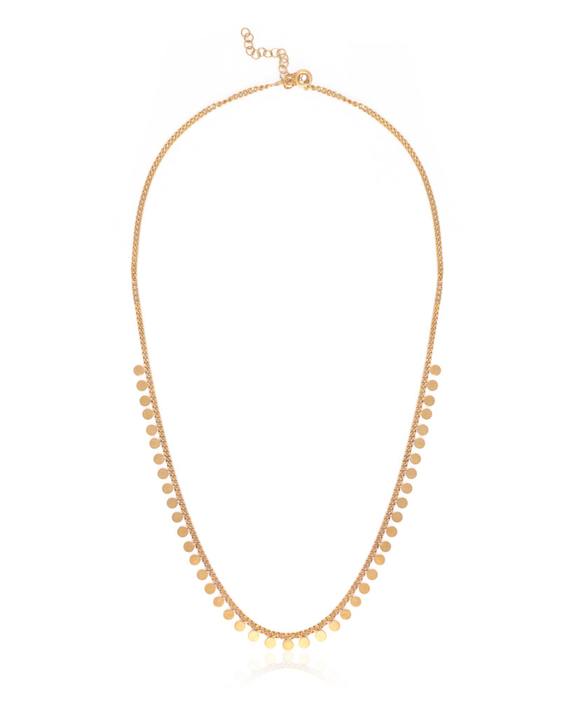 Mini Disc Collar Chain Necklace - Gold