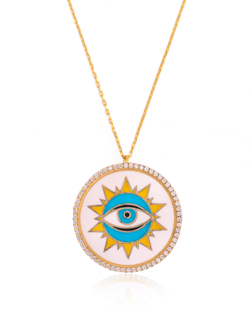 White Sunburst Evil Eye Necklace