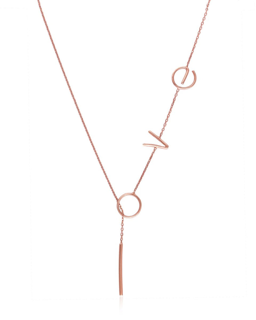 Love Lariat Necklace - Rosegold