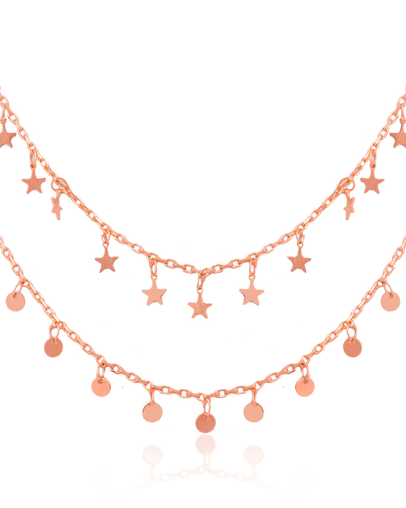 RoseGold Starlit Double Layer Chain Necklace