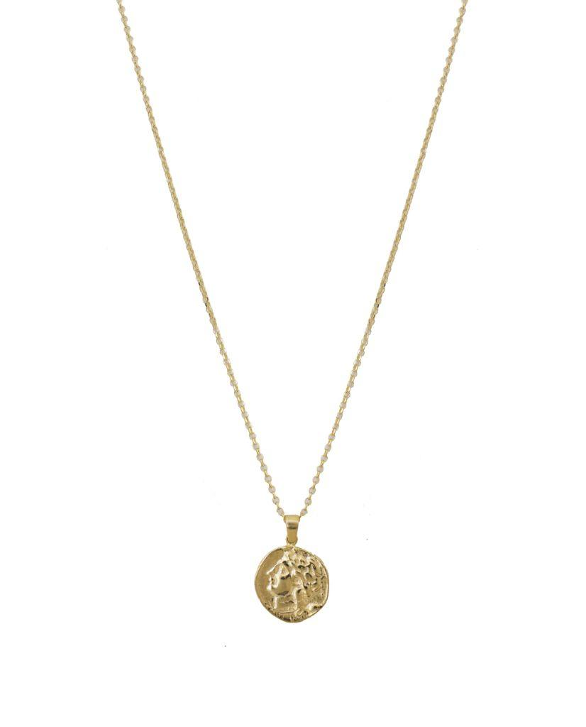 Annie Embossed Medallion Necklace in 18K Gold