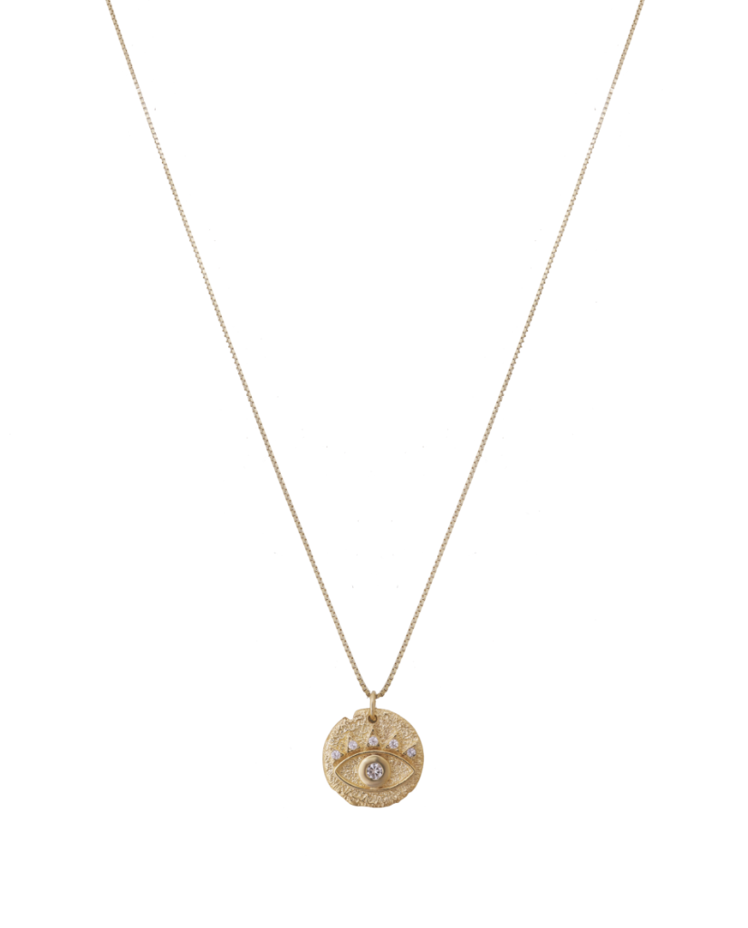 Embossed Medallion Evil Eye Necklace in 18K Gold
