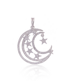 Multi-Star Moon Pendant In Silver With Swarovski Crystals