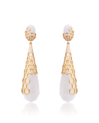 Serena Long Drop Honeycomb Earrings in 18K Gold