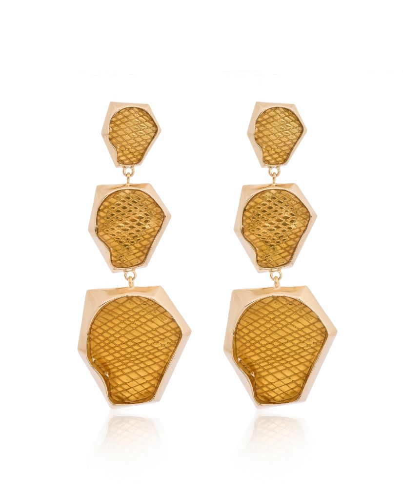 Kendra Ombre Citrine Hexagonal Earrings in 18K Gold