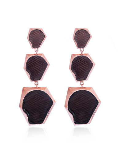 Kendra Ombre Smoky Hexagonal Earrings in 18K Rose Gold