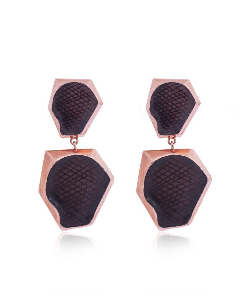 Auriel Double Drop Smoky Earrings in 18K Rose Gold