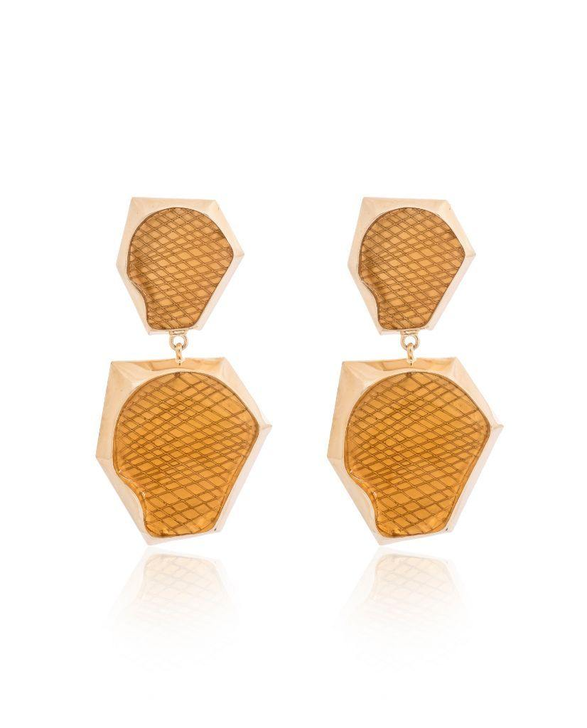 Auriel Double Drop Citrine Earrings in 18K Gold