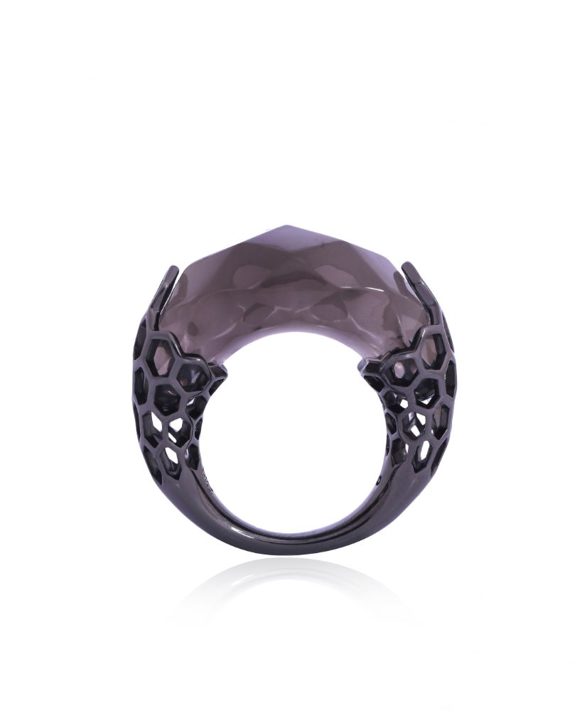 Tori Cut Black Bubble Ring in 18K Ruthenium