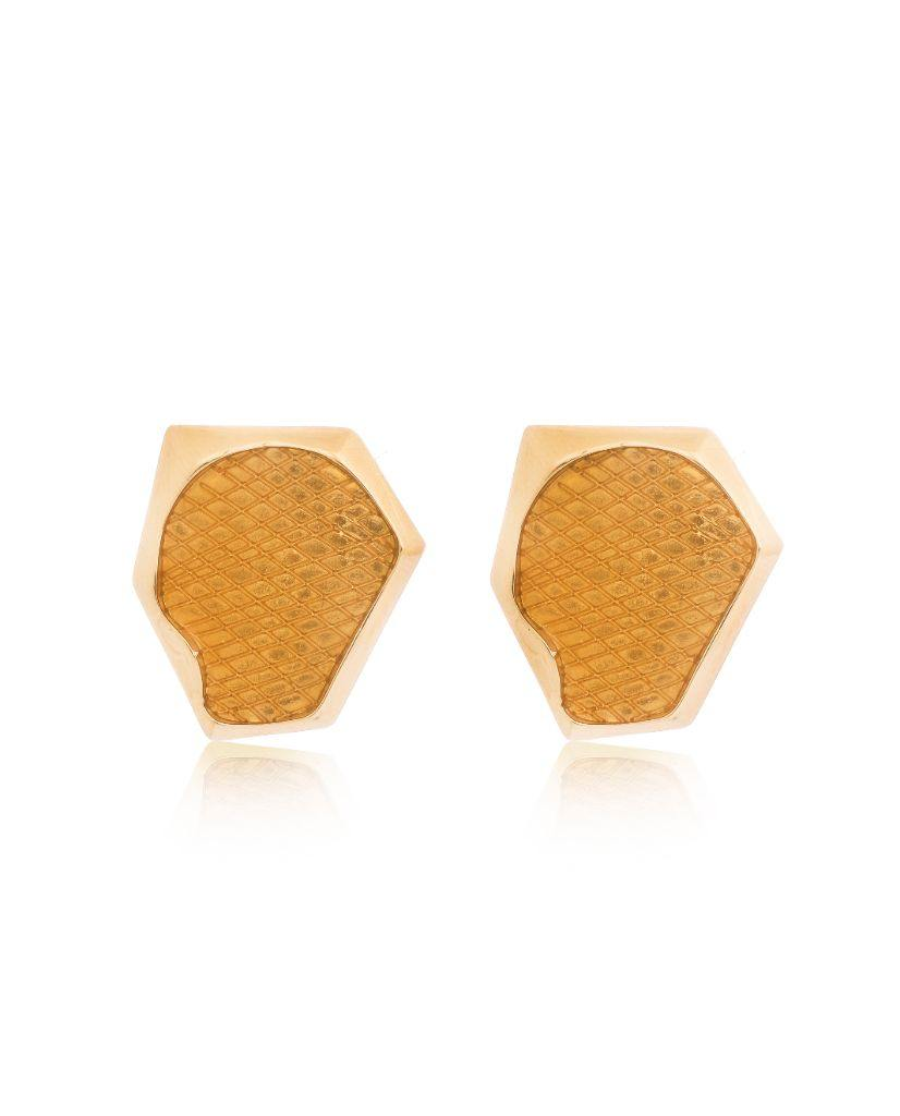 18K Gold Aria Hexagonal Citrine Studs
