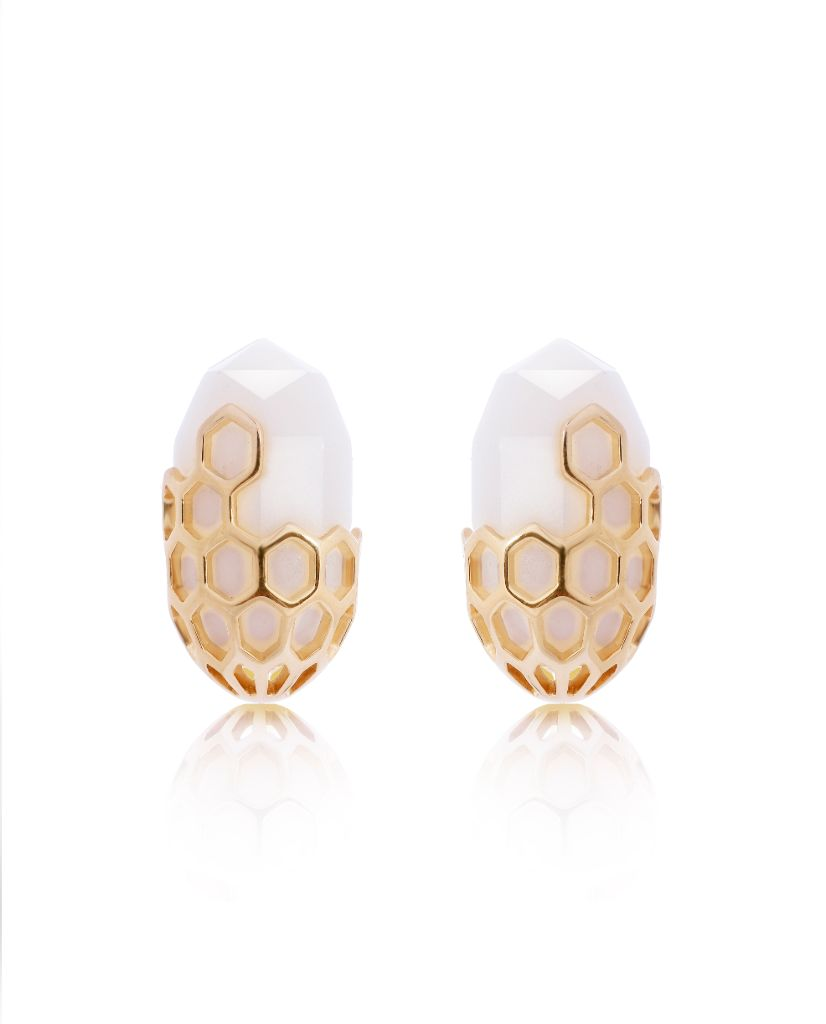 Paloma White Oval Studs in 18K Gold