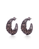 Marika Crescent Moon Hoop Earrings in 18K Ruthenium