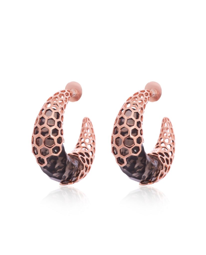 Marika Crescent Moon Hoop Earrings in 18K Rose Gold