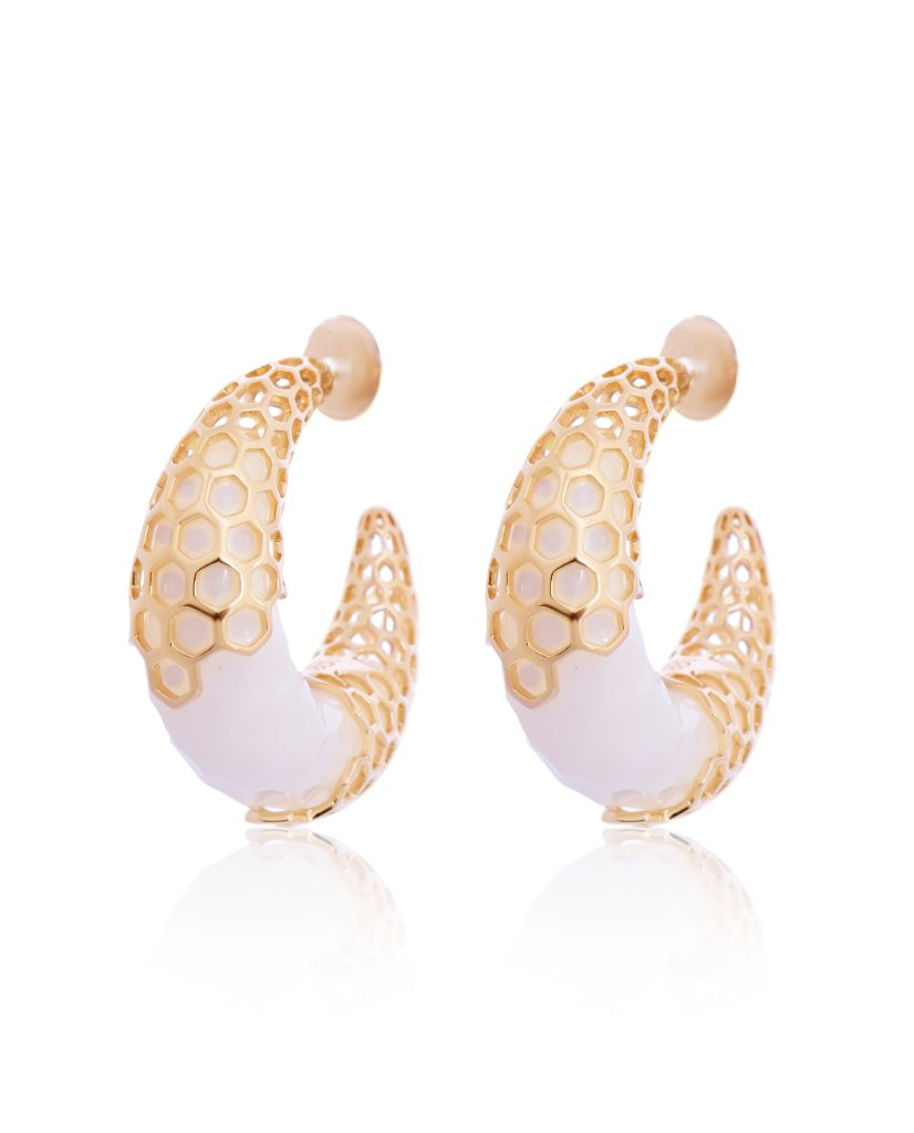 Marika Crescent Moon Hoop Earrings in 18K Gold