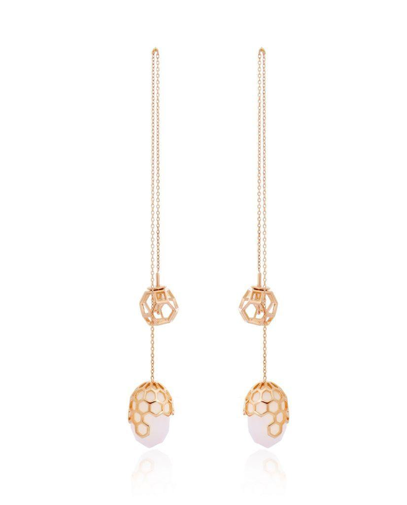 Alecia White Threader Earrings in 18K Gold