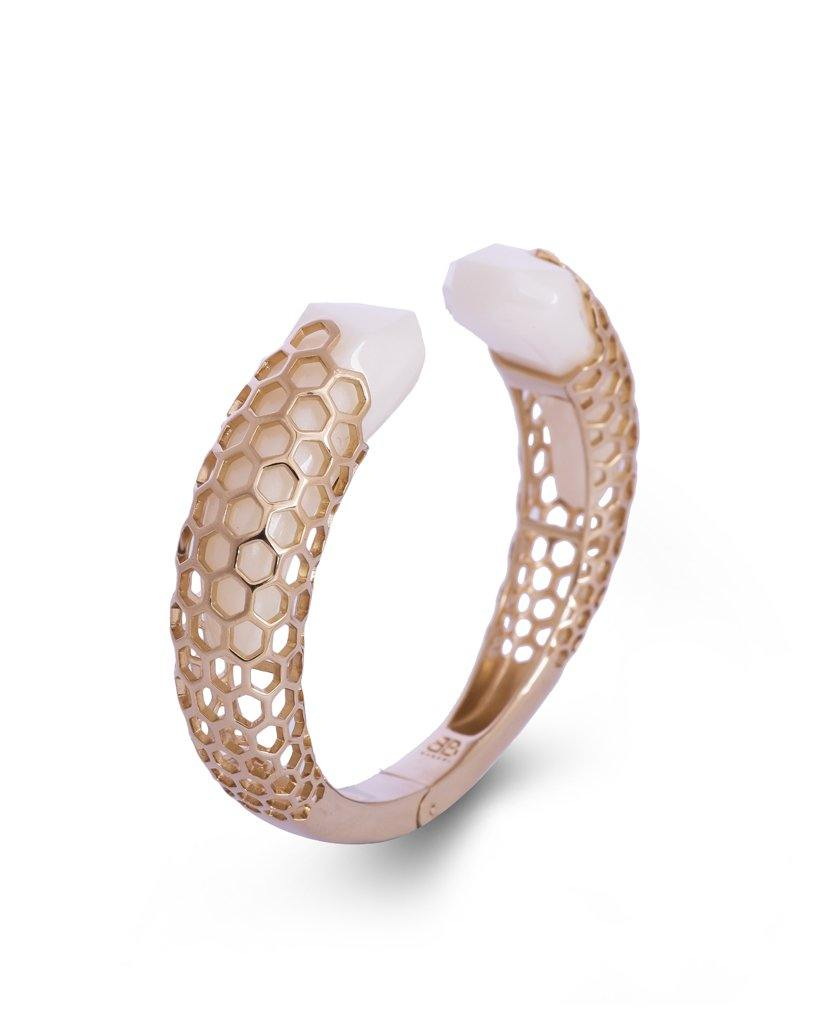 Aria Open Hinged Freesize White Cuff in 18K Gold