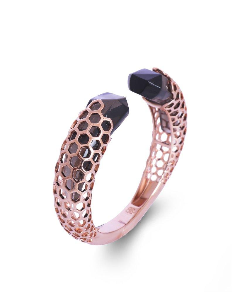 Aria Open Hinged Freesize Smoky Cuff in 18K Rose Gold