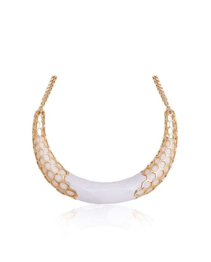Aria White Collar Statement Necklace in 18K Gold