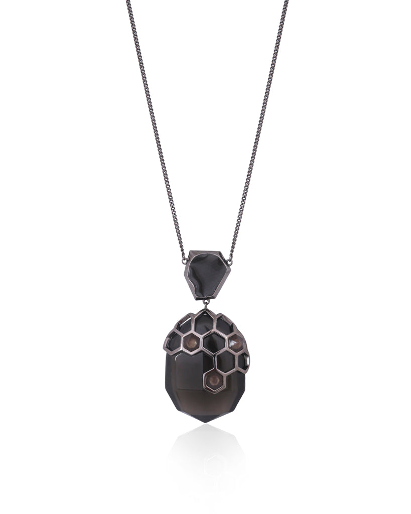 Opela Black Pendant Necklace in 18K Ruthenium