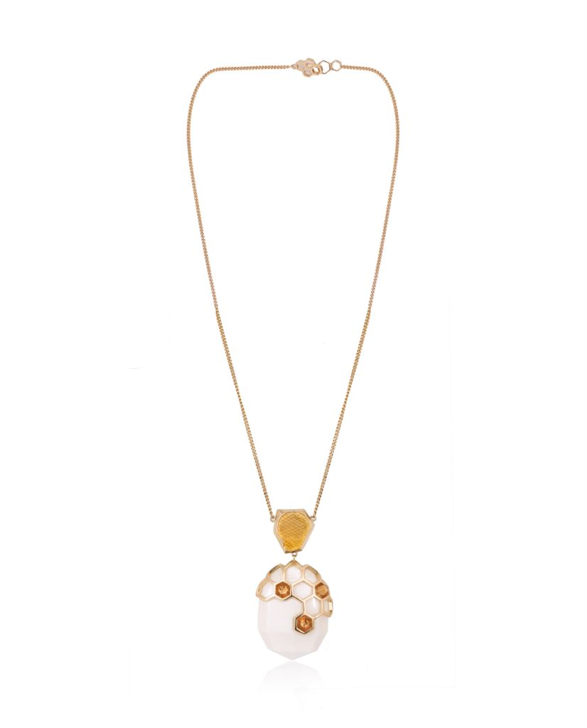 Opela White Pendant Necklace in 18K Gold