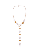 18K Gold Kate Lariat Necklace with Pearls