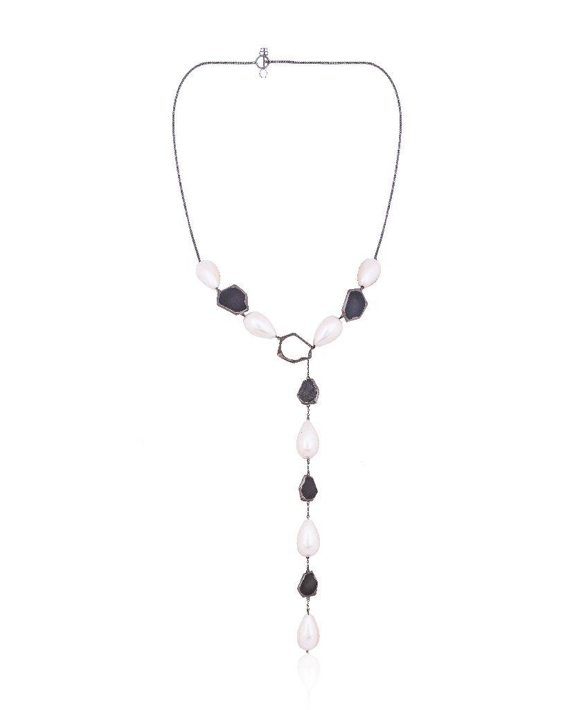 18K Ruthenium Kate Lariat Necklace with Pearls