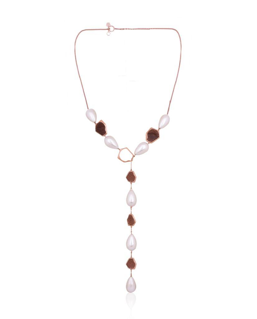 18K Rose Gold Kate Lariat Necklace with Faux Pearls