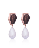 18K Rose Gold Aria Smoky Studs with Pearl Drops