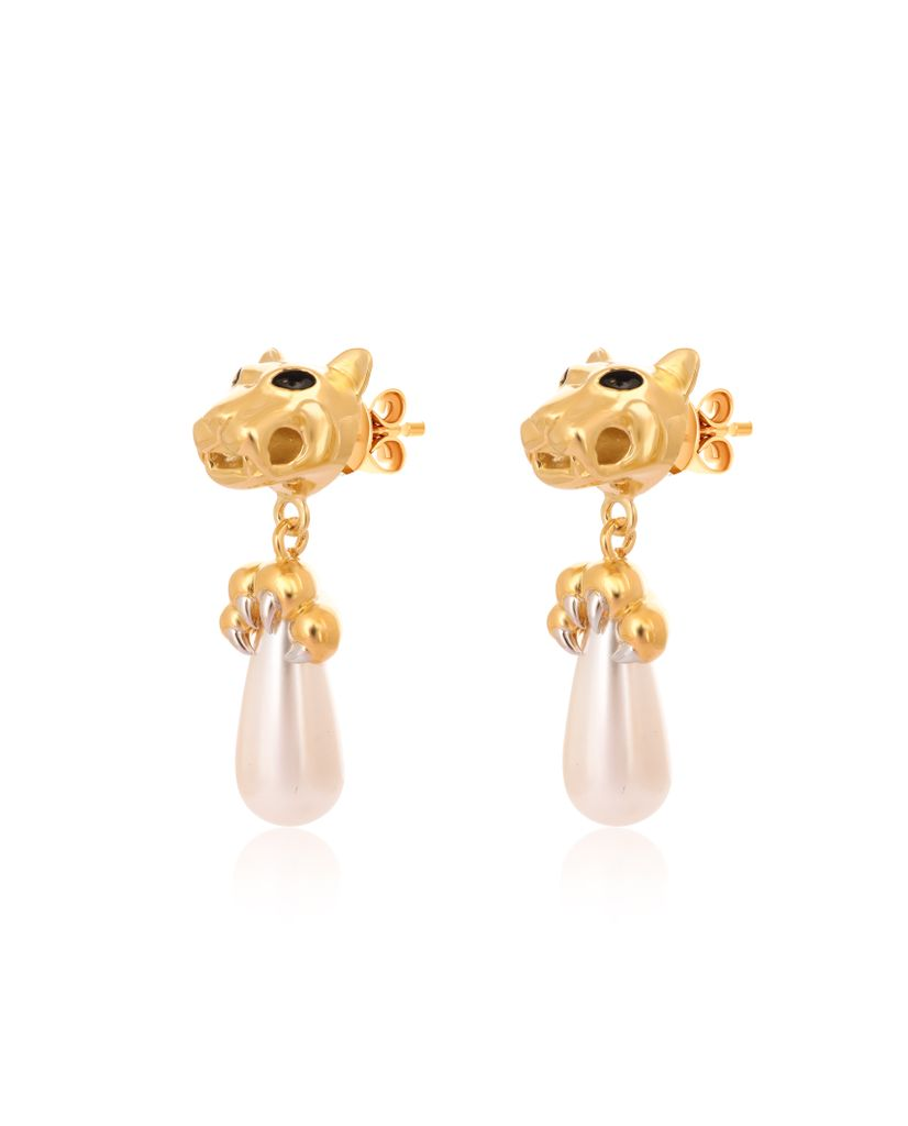Panther Head Claw Pearl Drop Earrings