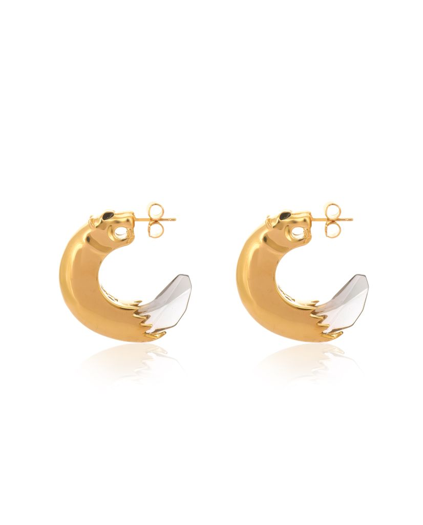 18K Gold Panthera Hoop Earrings