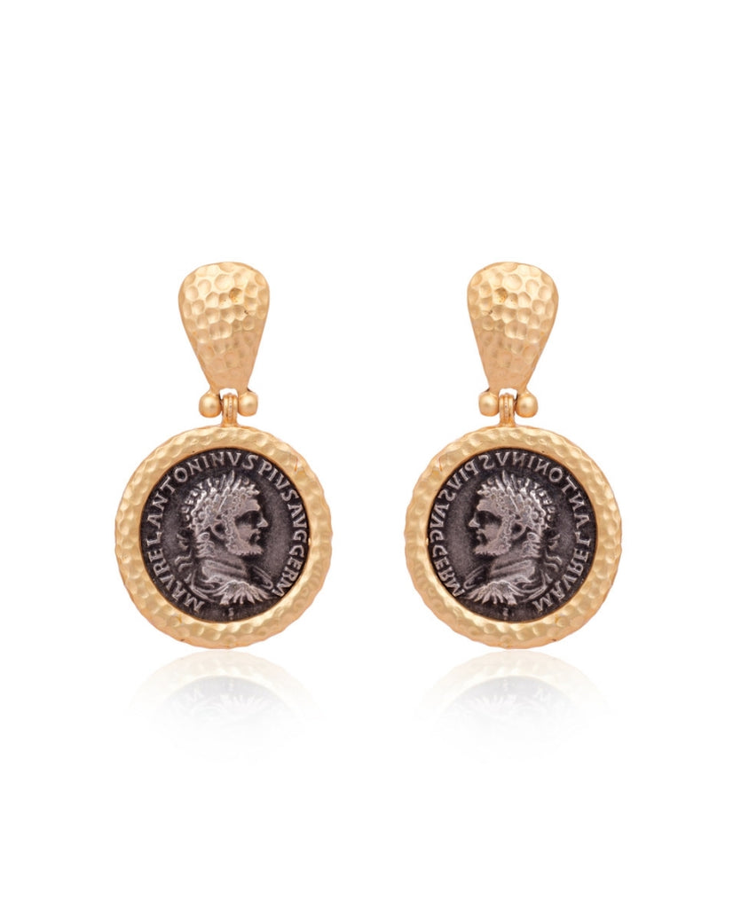 Hammered Finish Vintage Coin Earrings