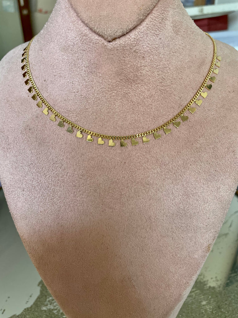 Mini Hearts Collar Chain Necklace - Gold