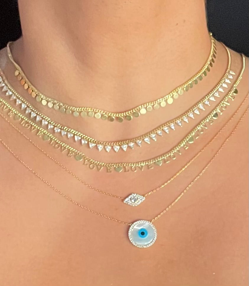 Evil Eye Mother of Pearl Disc Necklace
