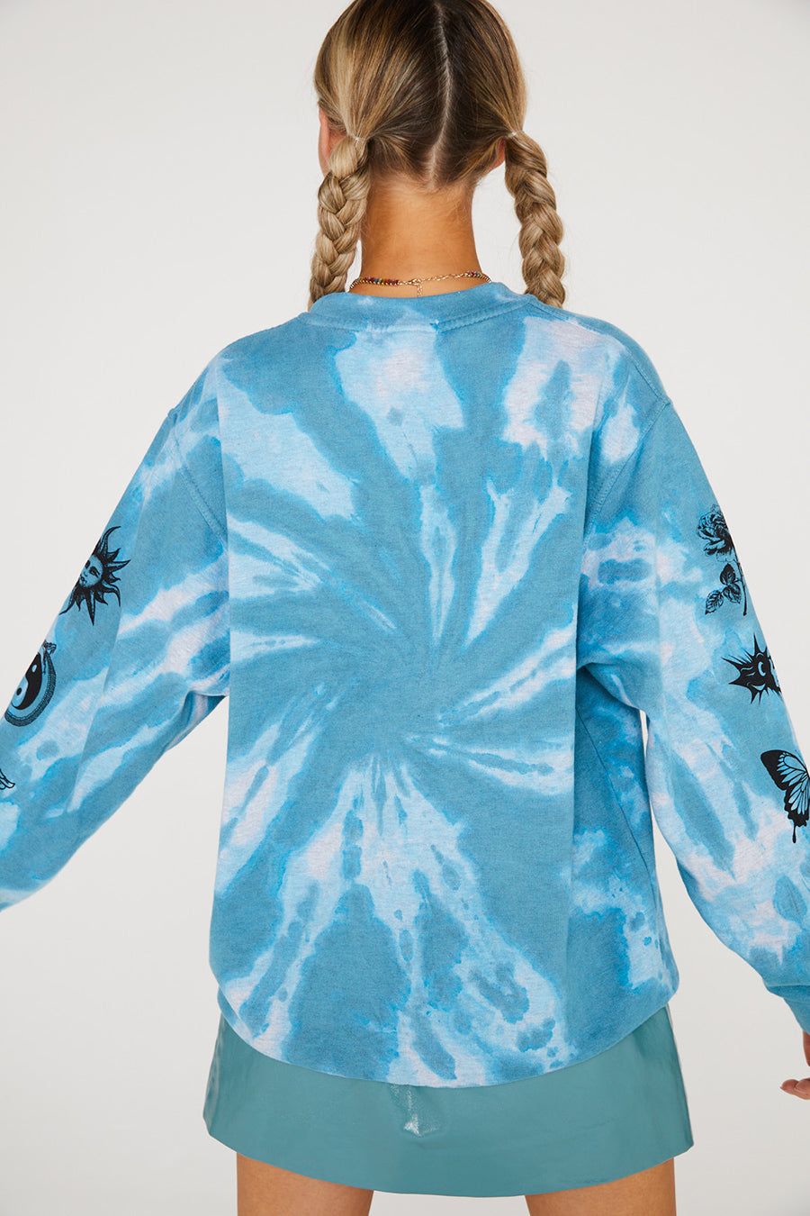 TIE DYE ETCHED GRAPHIC SWEAT