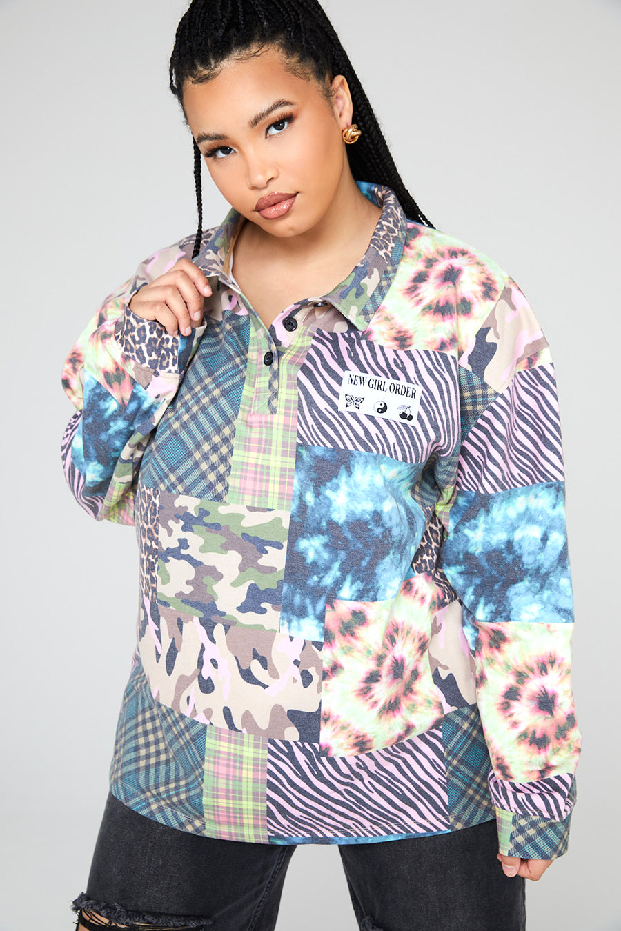Animal Tie Dye Mixed Print Polo Sweat Curve