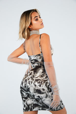 Skull print mini cowl neck dress
