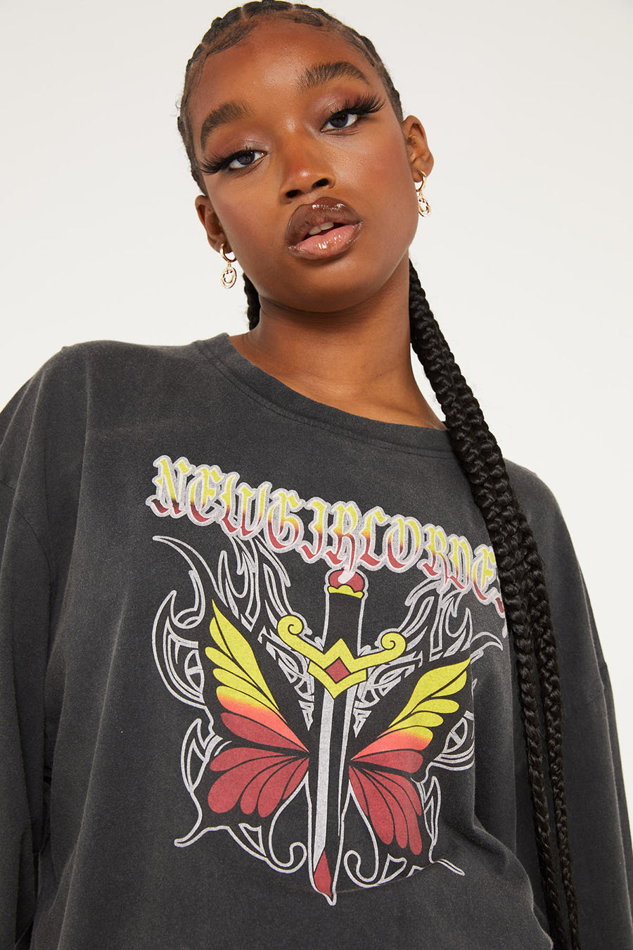 Butterfly Dagger Acid Wash Long Sleeved Top