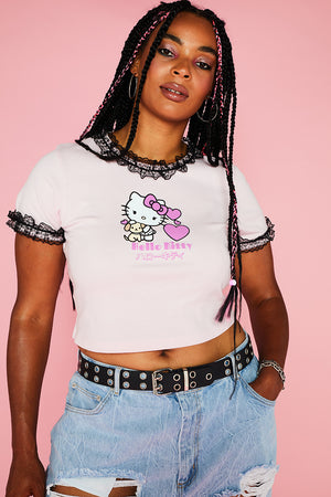 HELLO KITTY LACE DETAILED TEE CURVE