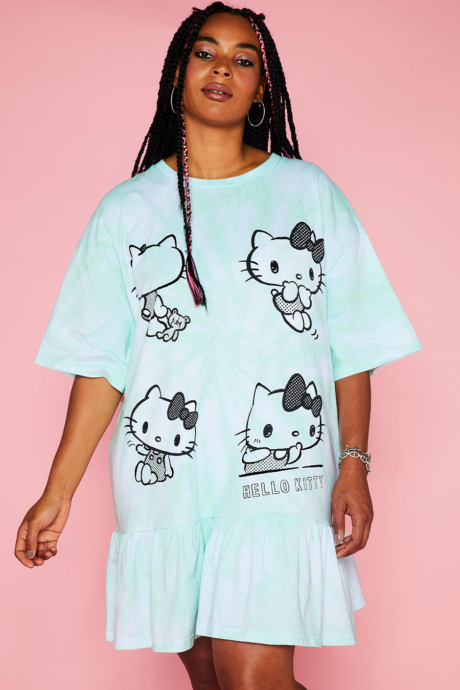 HELLO KITTY TIE DYE FRILL TSHIRT DRESS CURVE