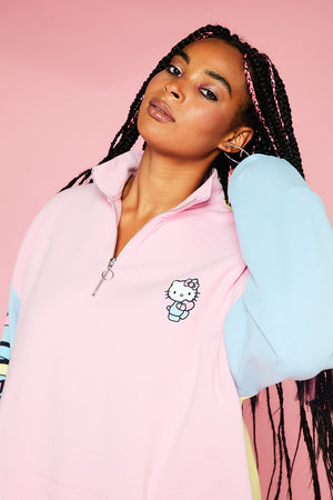 HELLO KITTY COLOUR CONTRAST PANEL SWEATSHIRT CURVE