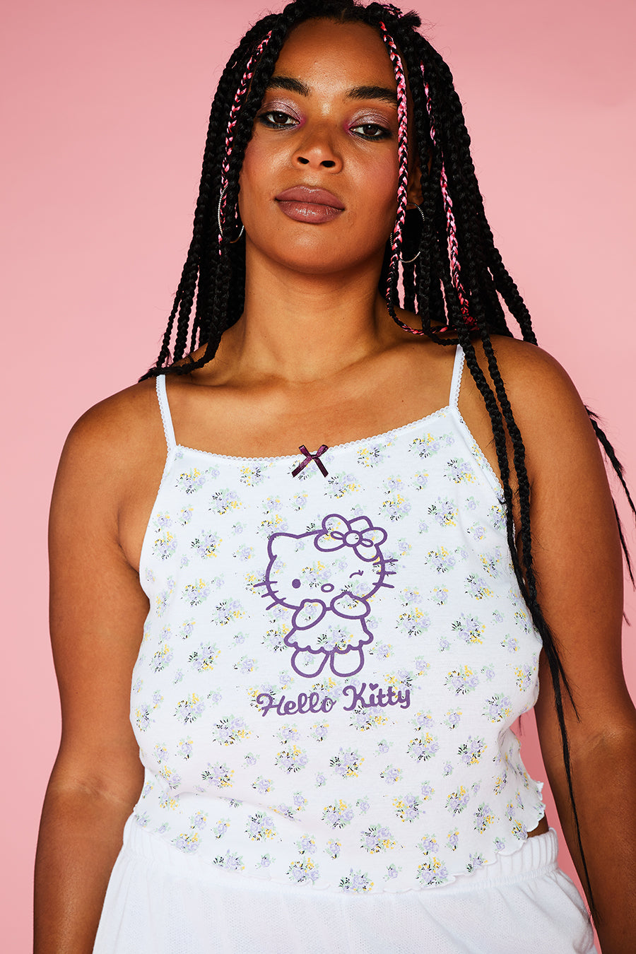 HELLO KITTY DITSY CROP CAMI CURVE