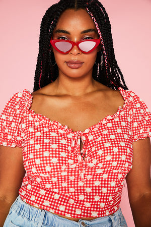 HELLO KITTY GINGHAM SWEETHEART TOP CURVE