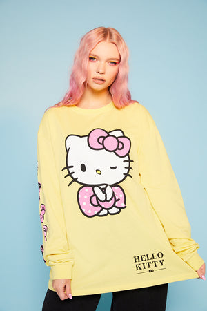 Hello Kitty sleeve print top yellow