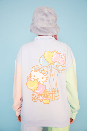 Hello kitty colour block placket sweat