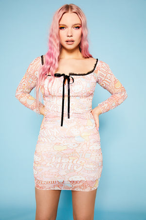 Hello Kitty ruched mesh dress