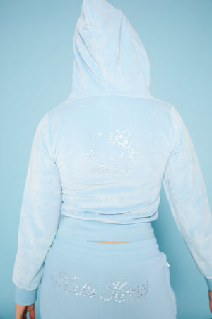 Hello Kitty Velour Diamante zip hoodie