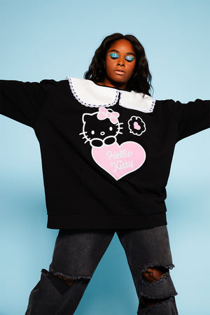 Hello kitty collar sweatshirt curve