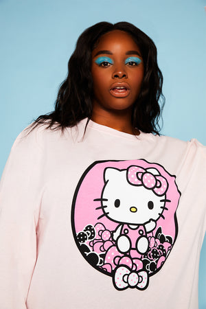 Hello Kitty pink sleeve print top curve