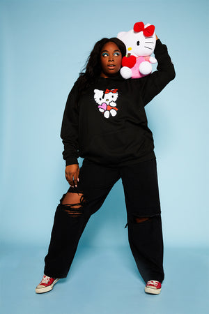 Hello Kitty black logo hoodie curve