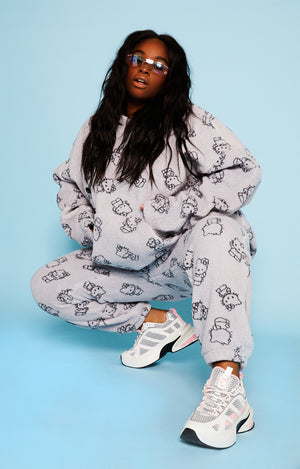 Hello kitty all over print fleece joggers curve
